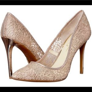JESSICA SIMPSON Praylee Rose Gold Lace Heels